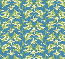 Lily of the Valley Pattern on Blue by helikettle