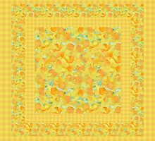 Watercolor Golden Daffodils and Matching Check Gingham by helikettle