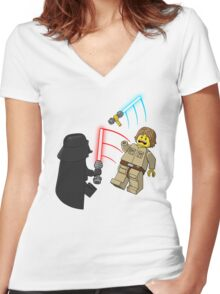 Space Brick Battles Women's Fitted V-Neck T-Shirt