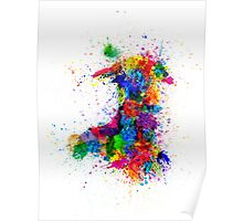 Wales Paint Splashes Map Poster