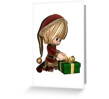 Cute Toon Christmas Elf Wrapping a Present Greeting Card