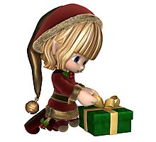 Cute Toon Christmas Elf Wrapping a Present Photographic Print