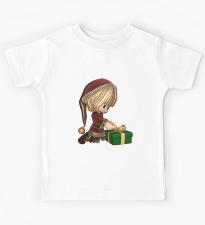 Cute Toon Christmas Elf Wrapping a Present Kids Tee