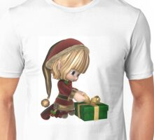 Cute Toon Christmas Elf Wrapping a Present Unisex T-Shirt