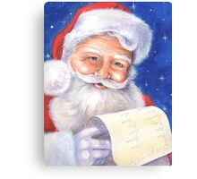 Smiling Santa with his list - naughty or nice? Canvas Print