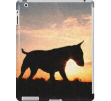 English Bull Terrier against Sunset, Oil Painting Style Print iPad Case/Skin