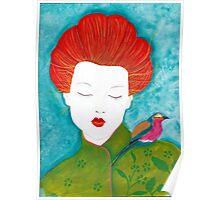 Geisha with bird Poster