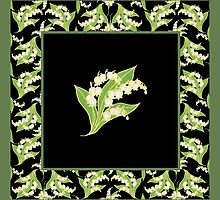 Art Nouveau Lily of the Valley Motif and Border on Black by helikettle