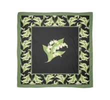 Art Nouveau Lily of the Valley Motif and Border on Black Scarf