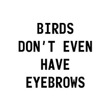 "Larry "" birds dont even have eyebrows""  black text by Itzmiri"