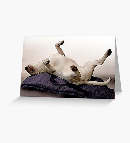 English Bull Terrier Dog, Watercolour Painting Style Art Print Greeting Card