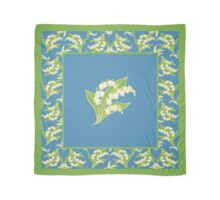 Art Nouveau Lily of the Valley Motif and Border on Blue Scarf