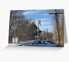 Car Crossing Train Crossing Greeting Card