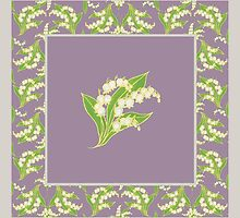 Art Nouveau Lily of the Valley Motif and Border on Mauve by helikettle