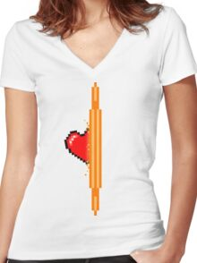 Heart through orange portal (version 1) Women's Fitted V-Neck T-Shirt