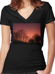 Red sky at night.... Women's Fitted V-Neck T-Shirt