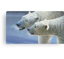 brothers on ice polar bears Canvas Print