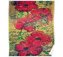 Poppies & Butterflys Poster