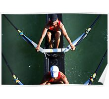 Aerial View of Rowers Poster