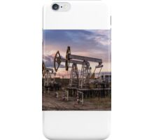 Panoramic oil pumpjack. iPhone Case/Skin