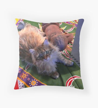 Feather the Cat 2 Throw Pillow