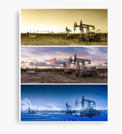3 panoramas oil pumpjack. Canvas Print