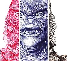 Creature From the Black Lagoon,  A ball point pen portrait.  by Roger Price