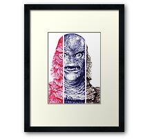 Creature From the Black Lagoon,  A ball point pen portrait.  Framed Print