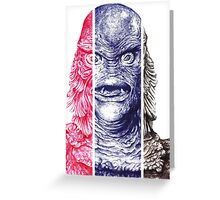 Creature From the Black Lagoon,  A ball point pen portrait.  Greeting Card