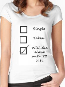 Will die alone with 72 cats Women's Fitted Scoop T-Shirt