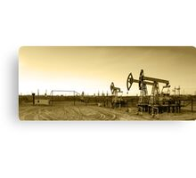 Panoramic oil pumpjack. Canvas Print