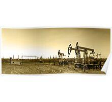 Panoramic oil pumpjack. Poster