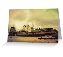Old broken ships on the coast. Greeting Card