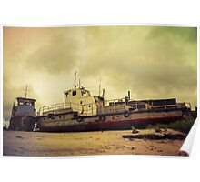 Old broken ships on the coast. Poster