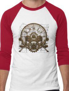 Vintage Steampunk Time Machine #1A Men's Baseball ¾ T-Shirt