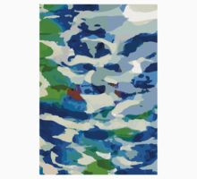 Abstract Army Pattern in Blue One Piece - Long Sleeve