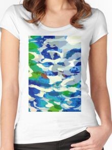 Abstract Army Pattern in Blue Women's Fitted Scoop T-Shirt