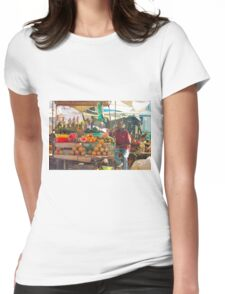 Fruits, Vegetables & Animals Bazar in Nairobi, KENYA Womens Fitted T-Shirt