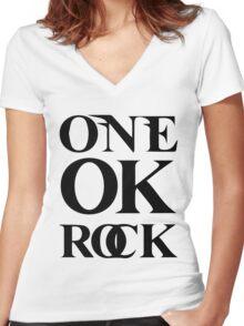 ONE OK ROCK (Alt Logo - Black) Women's Fitted V-Neck T-Shirt