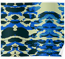 Abstract Army Pattern in Black Blue Poster