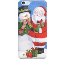 Cute Santa and snowman sharing presents iPhone Case/Skin