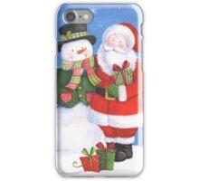 Cute Santa and snowman sharing presents iPhone Case/Skin