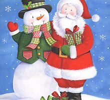 Cute Santa and snowman sharing presents by lizblackdowding