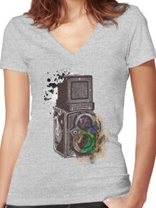 Photography Vintage Retro Rolleiflex Women's Fitted V-Neck T-Shirt