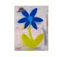 brick lane graffiti blue flower Art Print