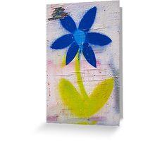 brick lane graffiti blue flower Greeting Card