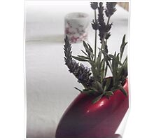 Lavender in Red Vase Poster