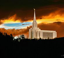 Oquirrh Mountain Temple Dark Sunset 20x24 by Ken Fortie