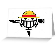 One Piece Pirate Rookie Flag Jolly Roger Straw Hat Heart Pirates(Monkey D. Luffy, Trafalgar Law, and Eustass Kid) Greeting Card