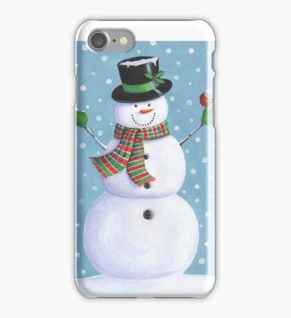Cute snowman with cardinal iPhone Case/Skin